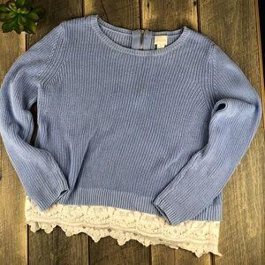💕Chico's Blue White Lace Hem Long Sleeve Sz 1 (M)